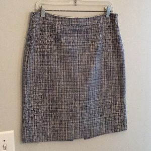 J. Crew size 8 blue and white tweed pencil skirt